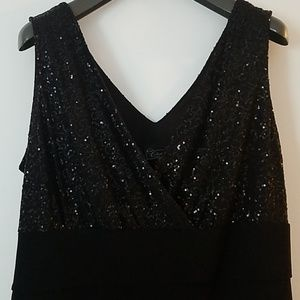 Sequined black cocktail dress